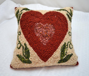 "8"" x 8"" Hooked Pillow - ""Shaker Heart"" (Finished)"