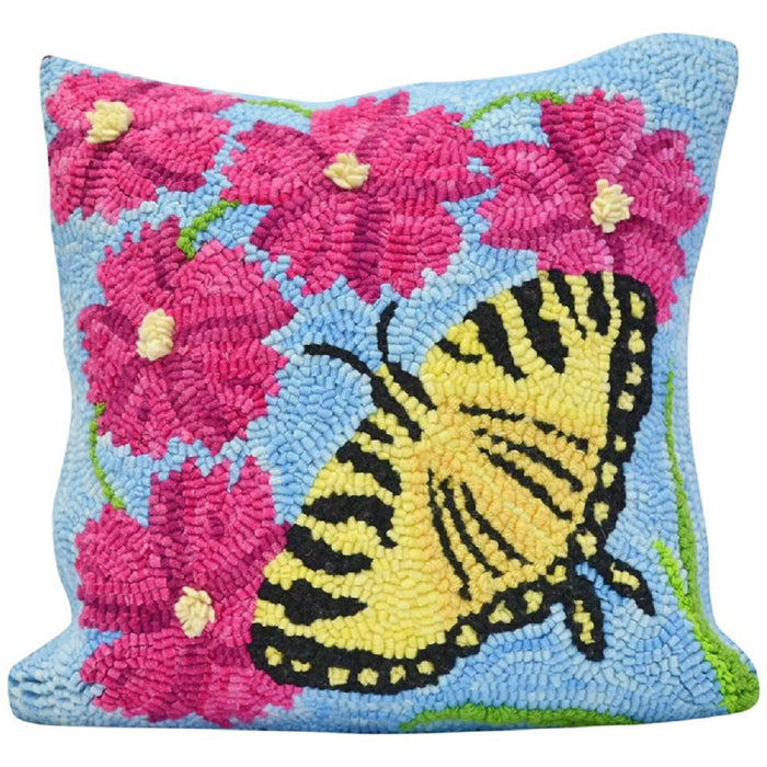 "12"" x 12"" Hooked Pillow - ""Shaker Hill Butterfly"" (Finished)"