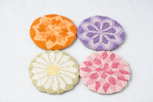 "Floral Geometric -  Coasters(4) *PATTERN ONLY* 5""  Hooked Rug Pattern-Round"