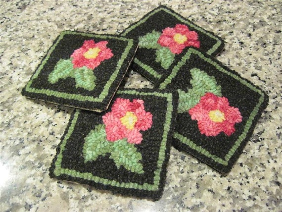 "Popham Beach Roses Coasters (four) - 4"" x 4"" Rug Hooking Kit"