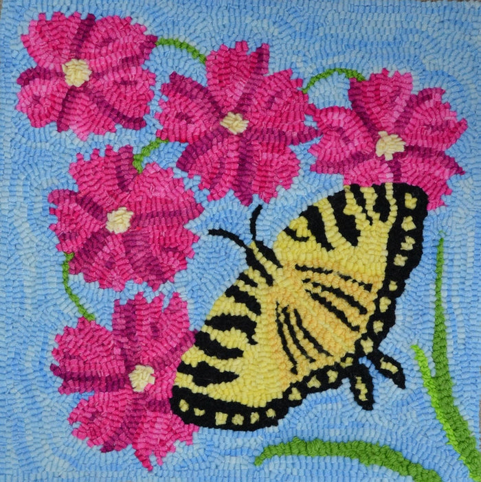 "Shaker Hill Butterfly - 12"" x 12"" Rug Hooking Kit"