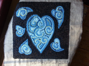 "Hearts and Chocolate Custom Color Schemes - 15"" x 15"" Rug Hooking Kit"