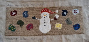 "Merry Mittens Snowman - 36.5"" x 13.25"" Rug Hooking Kit"