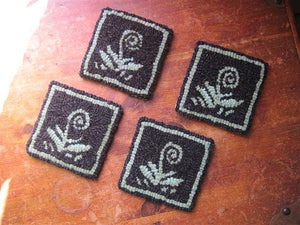 "Norway Fiddleheads Coasters (four) - 4"" x 4"" Rug Hooking Kit"