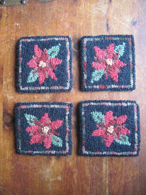 "Poinsettias Coasters (four) - 4"" x 4"" Rug Hooking Kit"