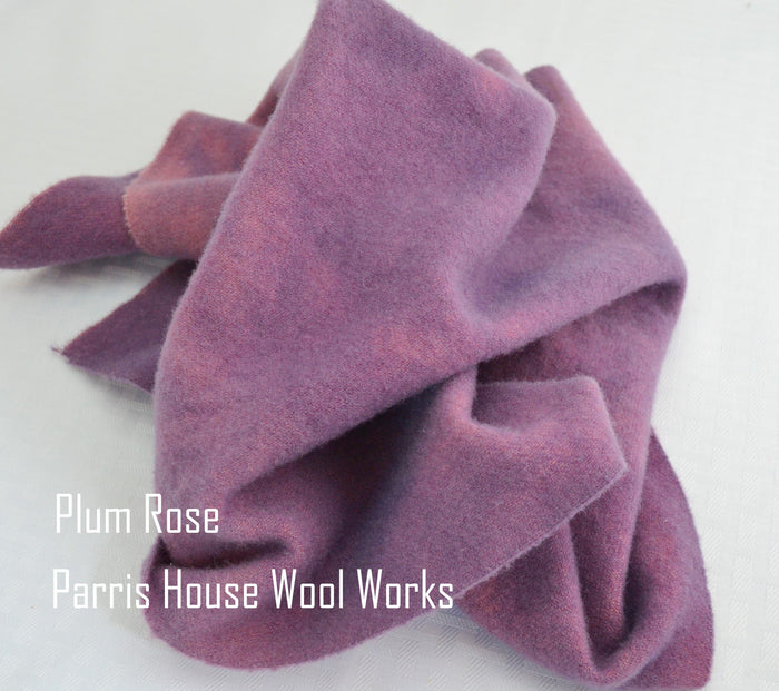 "Wool, Fat Quarter - ""Plum Rose"" - Hand Dyed Wool - Rug Hooking, Applique, Craft"