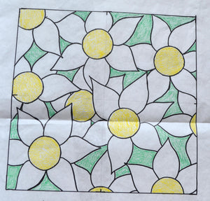"Daisy Riot *PATTERN ONLY* 15"" x 15""  Hooked Rug Pattern"