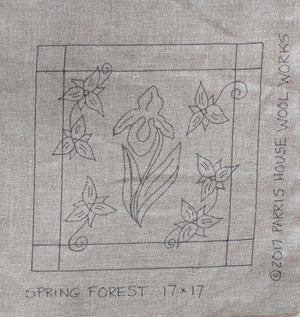 "Spring Forest *PATTERN ONLY* 17"" x 17""  Hooked Rug Pattern"