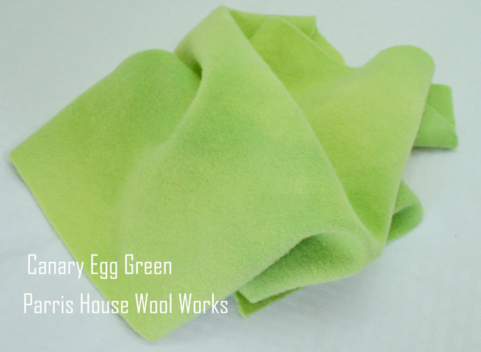 "Wool, Fat Quarter - ""Canary Egg Green"" - Hand Dyed Wool - Rug Hooking, Applique, Craft"