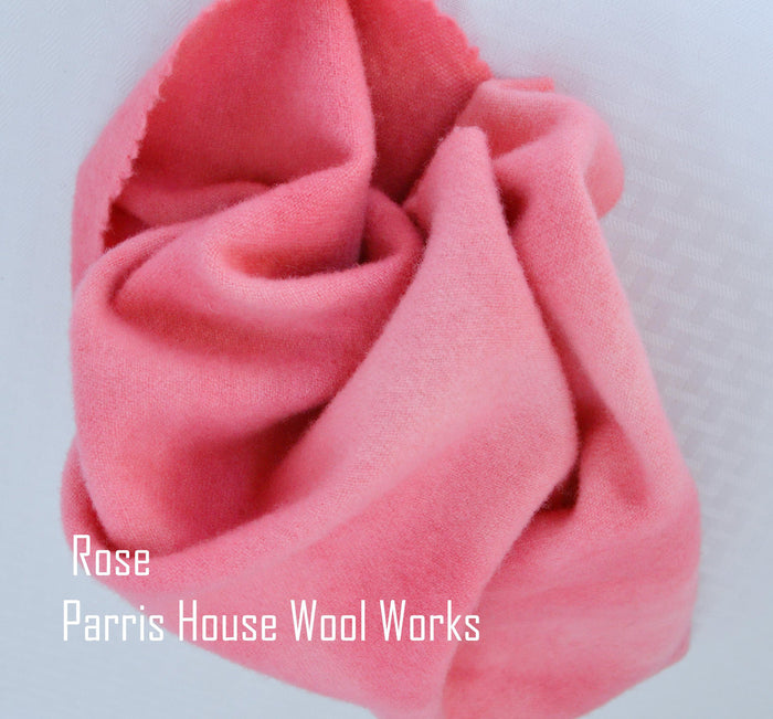 "Wool, Fat Quarter - ""Rose"" - Hand Dyed Wool - Rug Hooking, Applique, Craft"