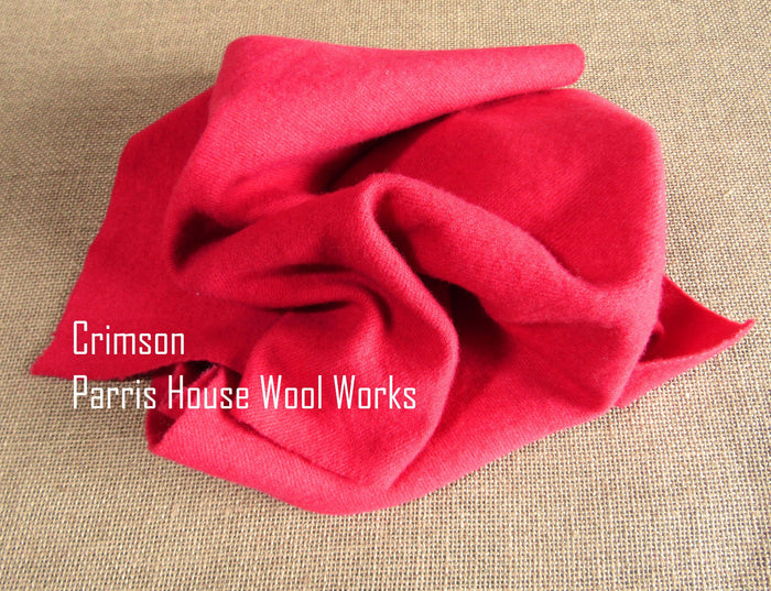 "Wool, Fat Quarter - ""Crimson"" - Hand Dyed Wool - Rug Hooking, Applique, Craft"