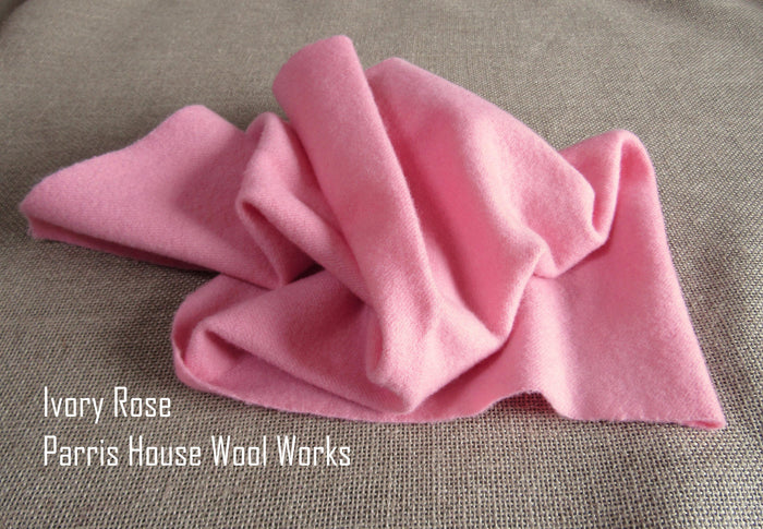 "Wool, Fat Quarter - ""Ivory Rose"" - Hand Dyed Wool - Rug Hooking, Applique, Craft"
