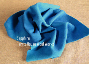 "Wool, Fat Quarter - ""Sapphire"" - Hand Dyed Wool - Rug Hooking, Applique, Craft"