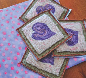 "Groovy Lavender Heart Coasters (four) - 4"" x 4"" Rug Hooking Kit"