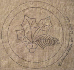 "Let Us Sing Winter - Holly - Chair Pad *PATTERN ONLY* 12""  Hooked Rug Pattern-Round"