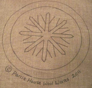 "Let Us Sing Winter - Snowflake - Chair Pad *PATTERN ONLY* 12""  Hooked Rug Pattern-Round"