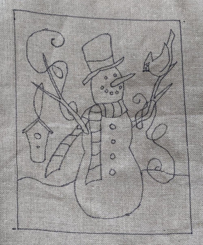 "Forest Friends Snowman"" *PATTERN ONLY* 14"" x 18""  Hooked Rug Pattern"