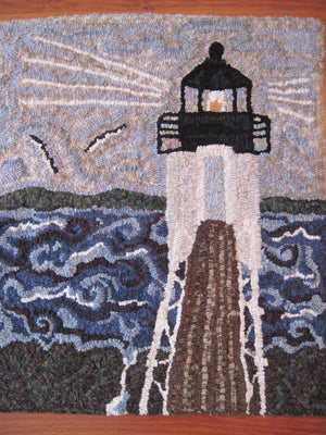 "22"" x 25"" Hooked Rug - ""Storm at Marshall Point Light, Maine"" - Wall Hanging (Finished)"