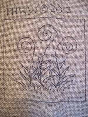 "Norway Fiddleheads - Trivet *PATTERN ONLY* 8"" x 8""  Hooked Rug Pattern"