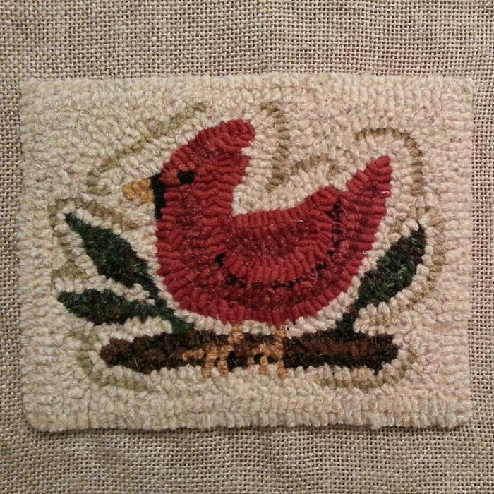 "Castine Cardinal *PATTERN ONLY* 8"" x 6""  Hooked Rug Pattern"