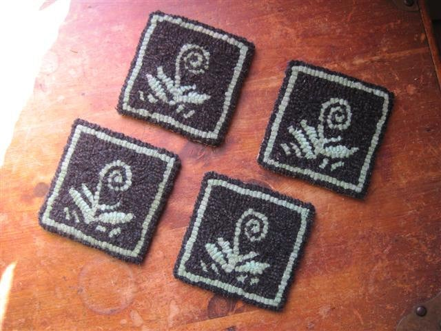 "Norway Fiddleheads - Coasters(4) *PATTERN ONLY* 4"" x 4""  Hooked Rug Pattern"