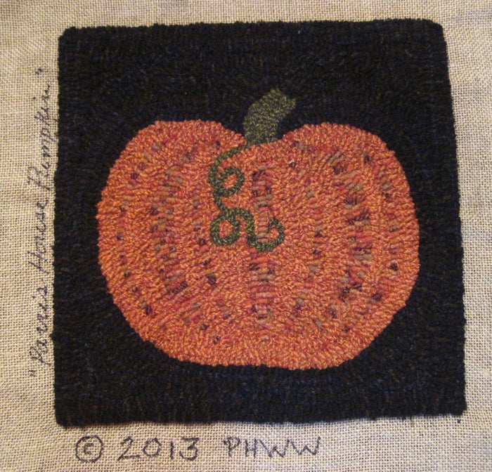 "Parris House Pumpkin"" *PATTERN ONLY* 12"" x 12""  Hooked Rug Pattern"