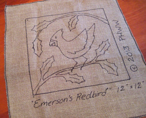 "Emerson's Redbird *PATTERN ONLY* 12"" x 12""  Hooked Rug Pattern"