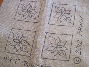 "Poinsettia"" - Coasters(4) *PATTERN ONLY* 4"" x 4""  Hooked Rug Pattern"