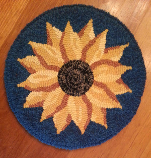 "Evening Sunflower - Chair Pad *PATTERN ONLY* 12""  Hooked Rug Pattern-Round"