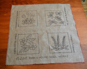 "Maine Botanicals - Trivet - Set of Four *PATTERN ONLY* 8"" x 8""  Hooked Rug Pattern"