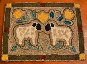 "Woolly Duo  *PATTERN ONLY* 18"" x 24""   Hooked Rug Pattern"