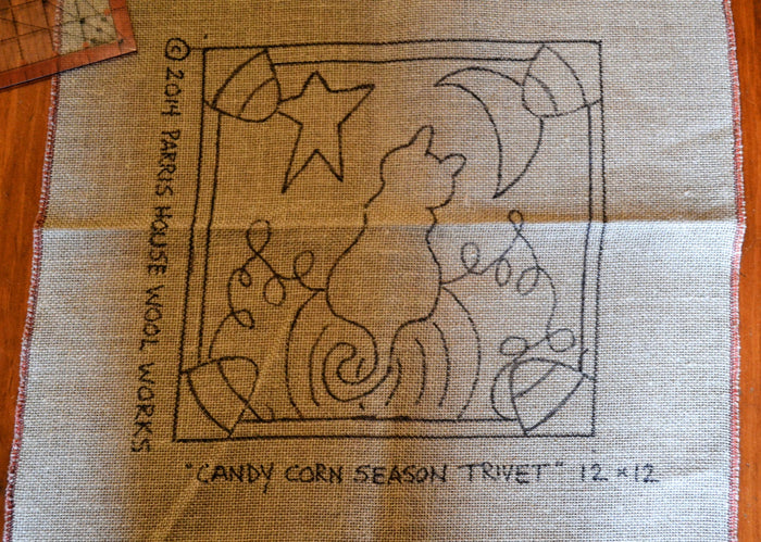 "Candy Corn Season - Trivet *PATTERN ONLY* 12"" x 12""  Hooked Rug Pattern"