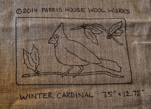 "Winter Cardinal *PATTERN ONLY* 7.5"" x 12.75""  Hooked Rug Pattern"