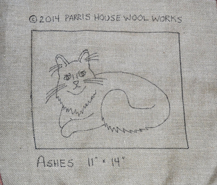"Ashes - Maine Coon Cat *PATTERN ONLY* 11"" x 14""  Hooked Rug Pattern"