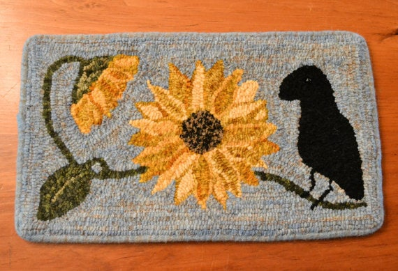 "Summer in Paris - Crow and Sunflowers *PATTERN ONLY* 10"" x 18""  Hooked Rug Pattern"