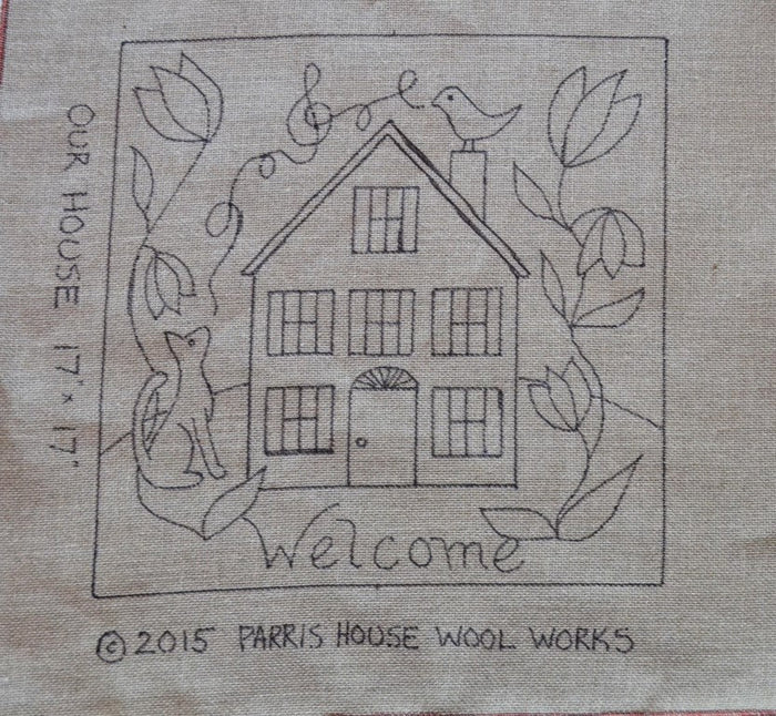 "Our House *PATTERN ONLY* 17"" x 17""  Hooked Rug Pattern"