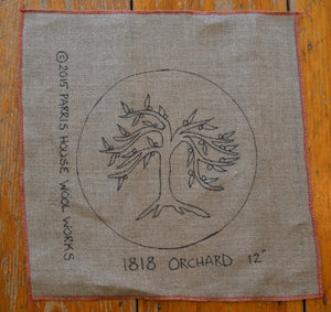 "1818 Orchard - Chair Pad *PATTERN ONLY* 12""  Hooked Rug Pattern-Round"
