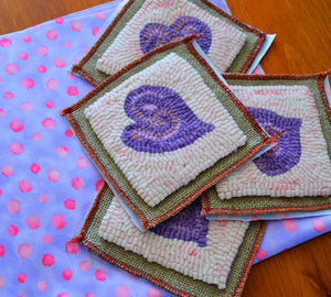 "Groovy Heart Coasters (4) *PATTERN ONLY* 4"" x 4""  Hooked Rug Pattern"