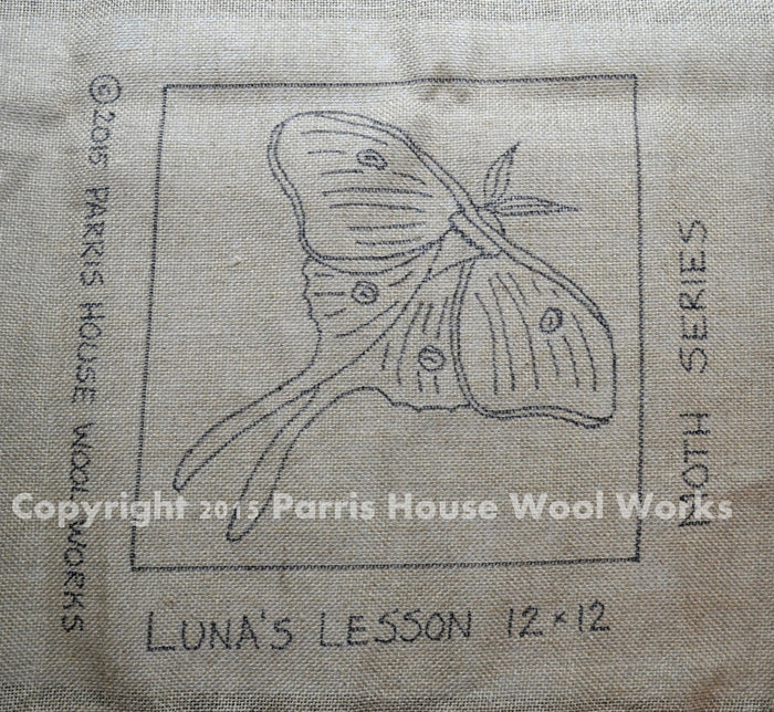 "Luna's Lesson - Moth *PATTERN ONLY* 12"" x 12""  Hooked Rug Pattern"