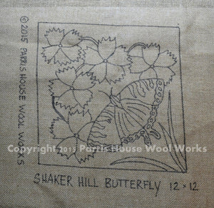 "Shaker Hill Butterfly *PATTERN ONLY* 12"" x 12""  Hooked Rug Pattern"
