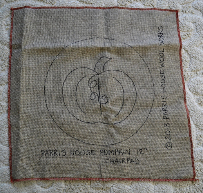 "Parris House Pumpkin - Chair Pad *PATTERN ONLY* 12""  Hooked Rug Pattern-Round"