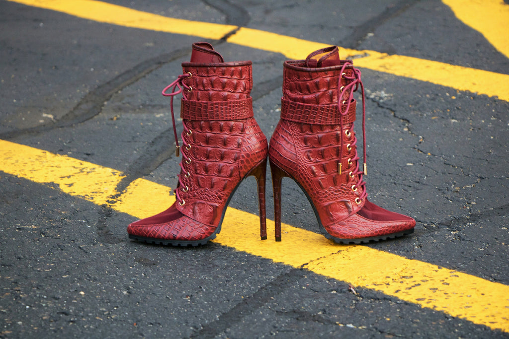 burgundy crocodilus sheer bootie
