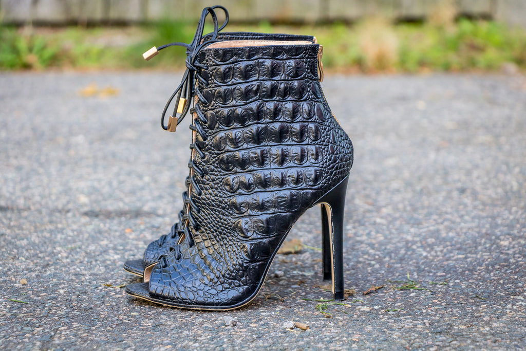 black crocodilus bootie