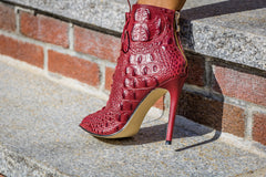 burgundy crocodilus bootie