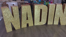 Load and play video in Gallery viewer, PICK UP- Large Freestanding Foam Letters Priced EACH for Prop or Candy Dessert Table Wedding, Graduation, Birthday
