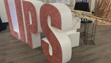 Load and play video in Gallery viewer, Glitter Large Freestanding Foam Letters Priced EACH for Prop or Candy Dessert Table Wedding, Graduation, Birthday