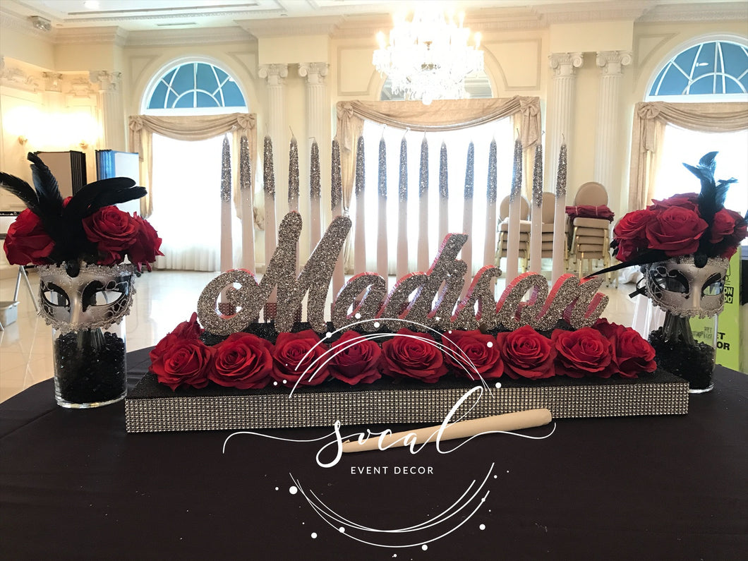 Sweet 16 Quince Candelabra Beauty and the beast, Alice in Wonderland, Masquerade Red Roses Theme