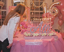 Load image into Gallery viewer, Sweet 16, Quince, Mitzvah Candelabra Candle Lighting Ceremony Roses & Glitter Candles
