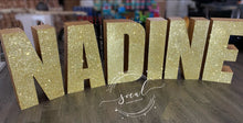 Load image into Gallery viewer, Glitter Large Freestanding Foam Letters Priced EACH for Prop or Candy Dessert Table Wedding, Graduation, Birthday