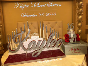 Step tiered Sweet 16, Quince or Mitzvah Candle lighting Ceremony Candelabra with glitter candles